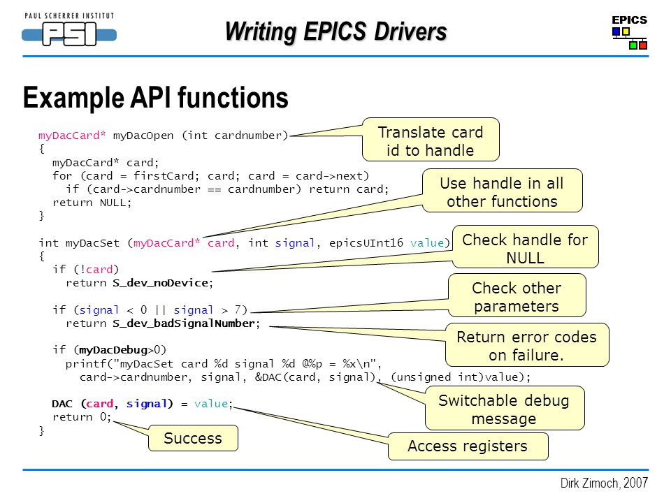 Example API functions Writing EPICS Drivers