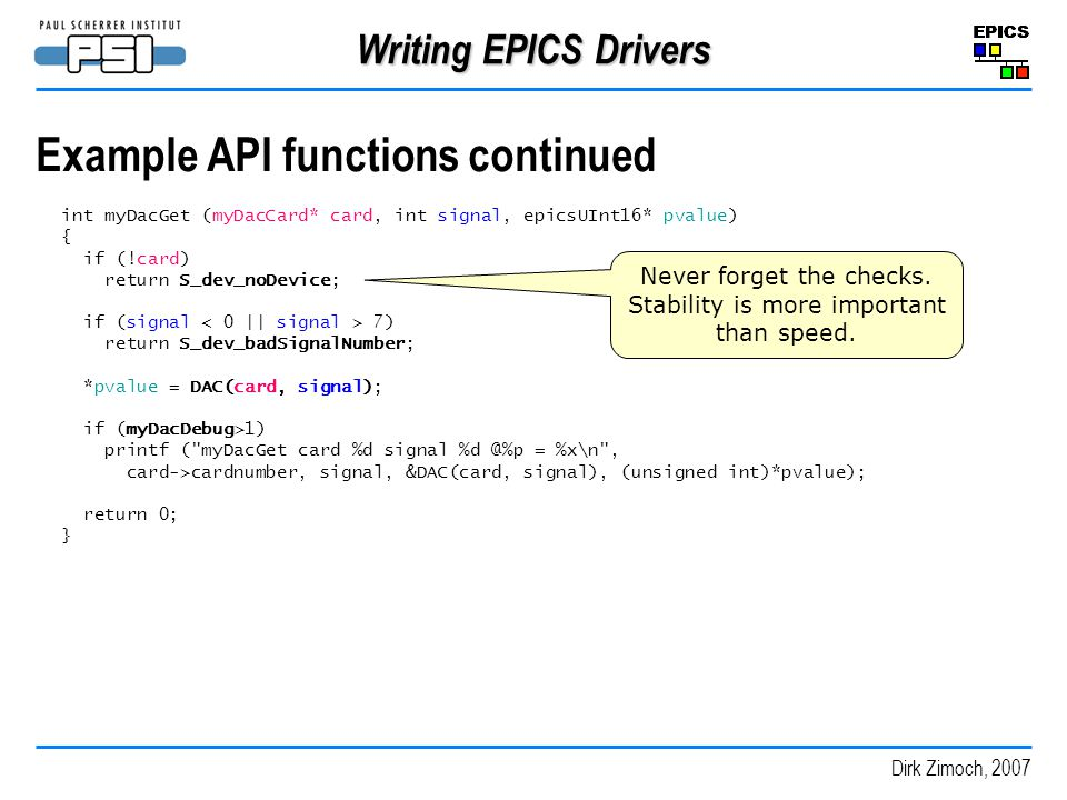 Example API functions continued