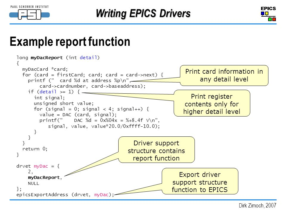Example report function