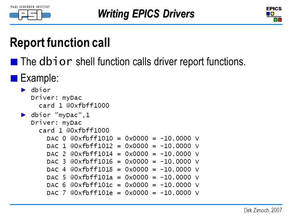 Report function call Writing EPICS Drivers