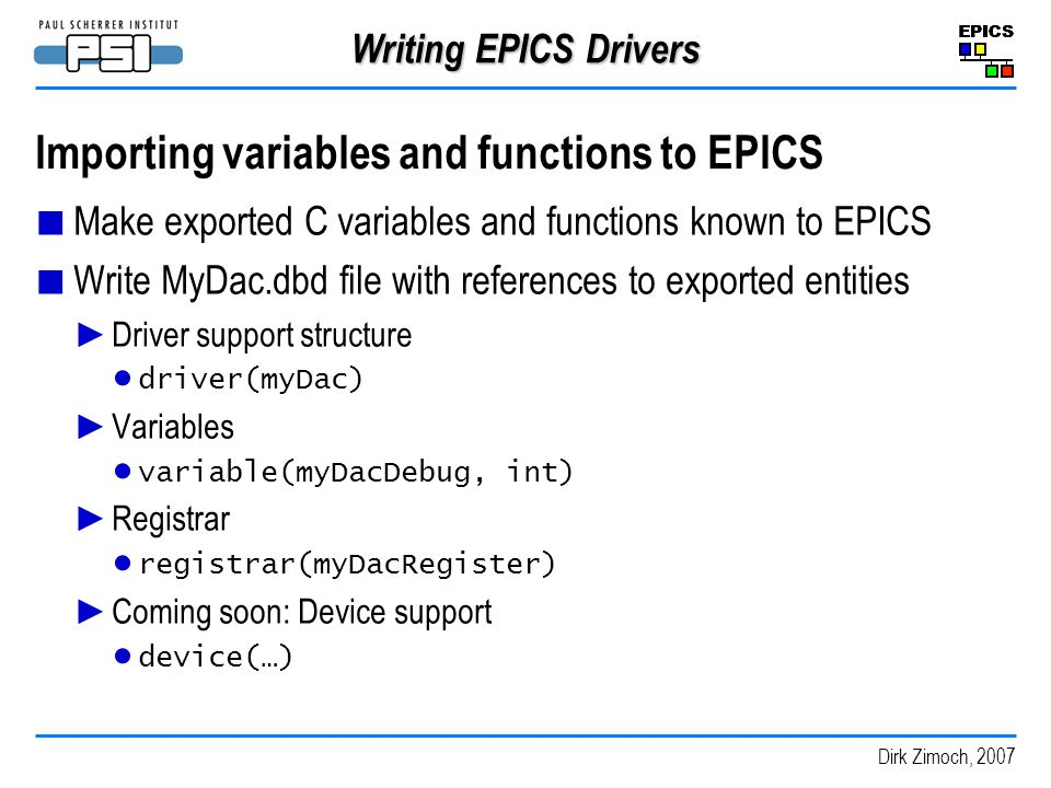 Importing variables and functions to EPICS
