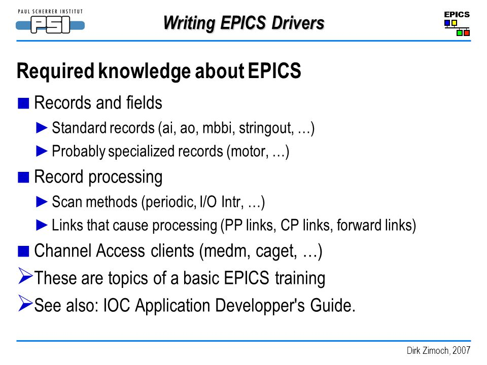 Required knowledge about EPICS