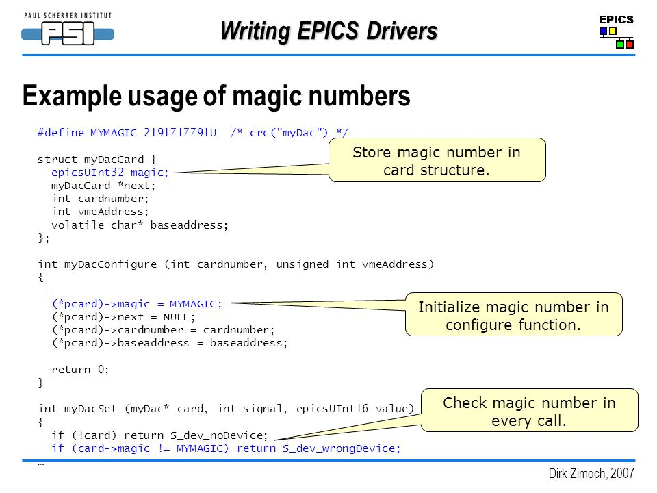 Example usage of magic numbers