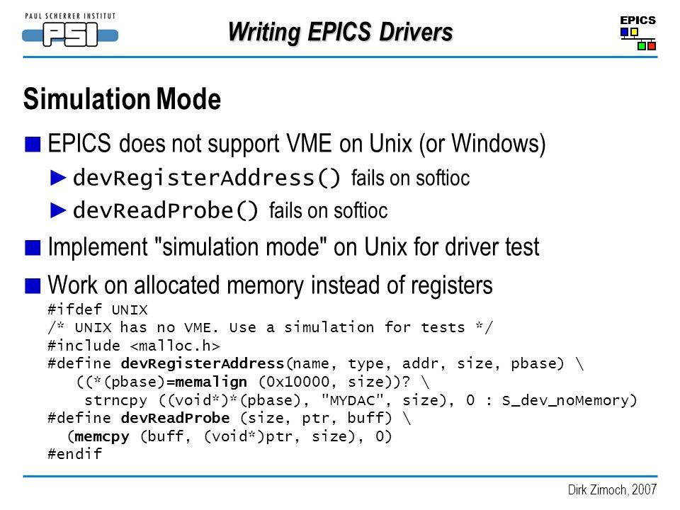 Simulation Mode Writing EPICS Drivers