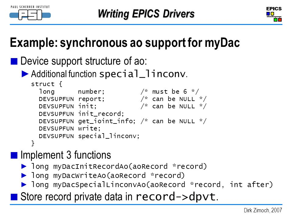 Example: synchronous ao support for myDac