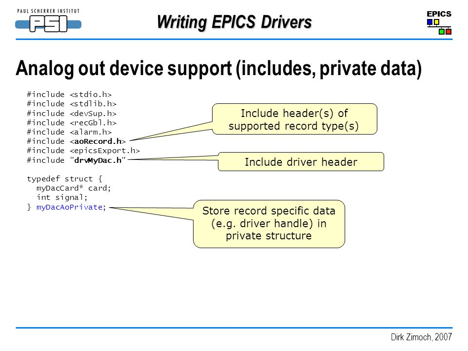 Analog out device support (includes, private data)