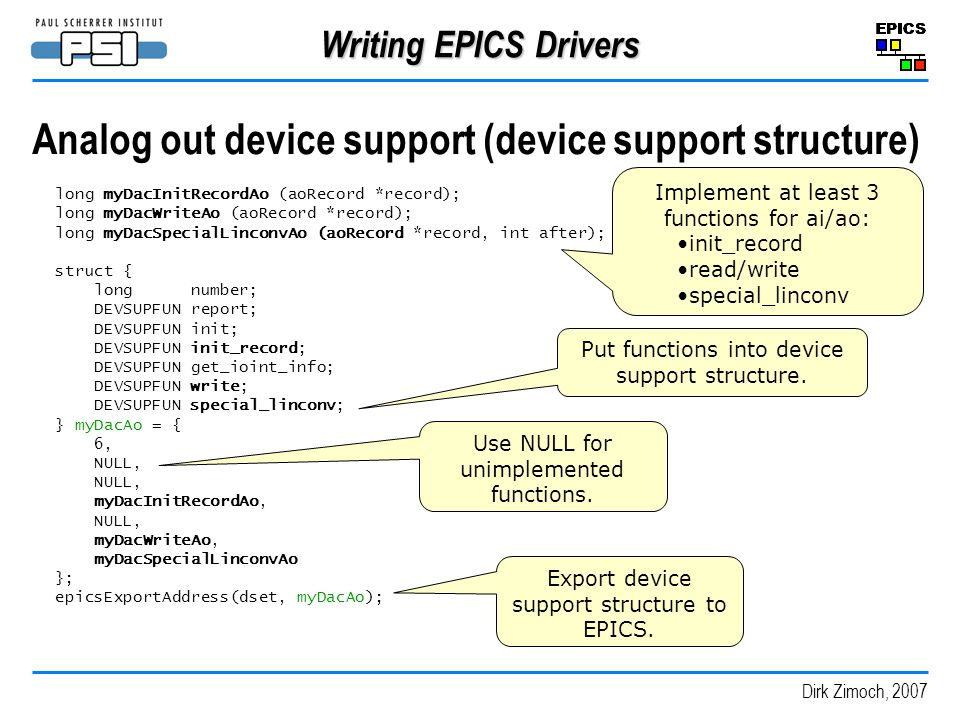 Analog out device support (device support structure)