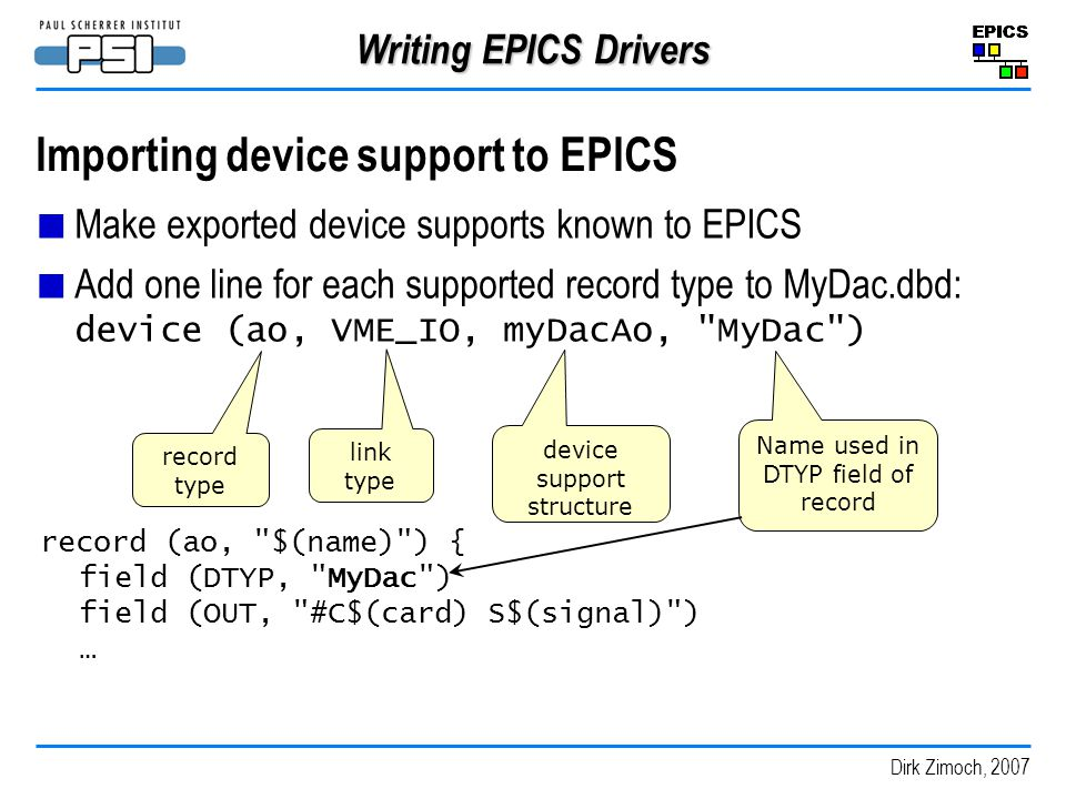 Importing device support to EPICS
