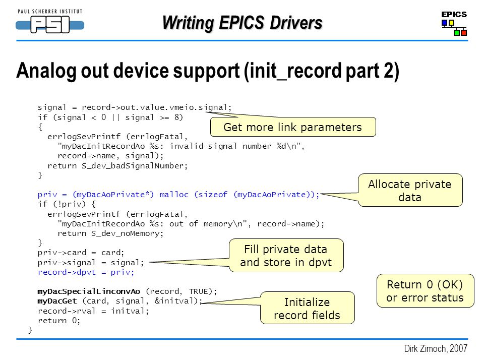Analog out device support (init_record part 2)