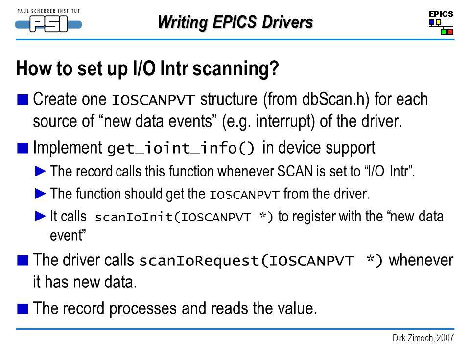 How to set up I/O Intr scanning