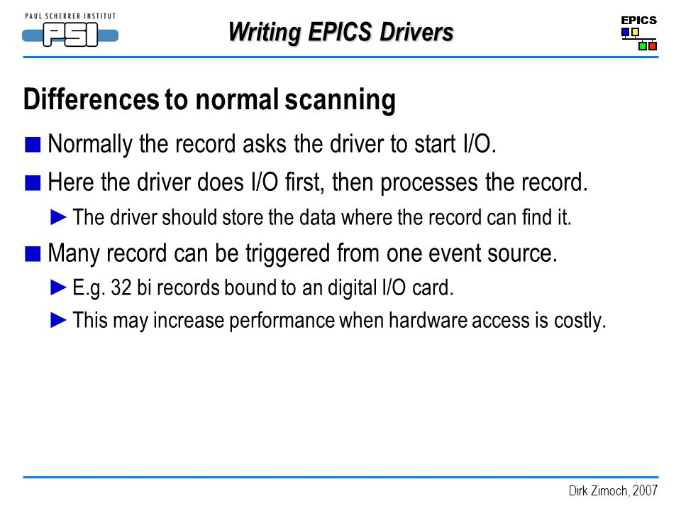 Differences to normal scanning