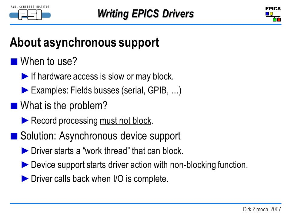 About asynchronous support