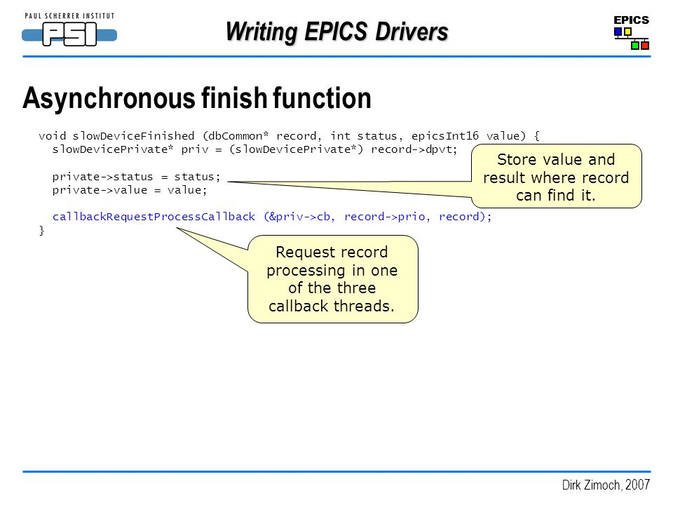 Asynchronous finish function