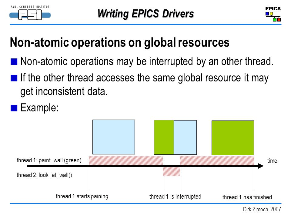 Non-atomic operations on global resources