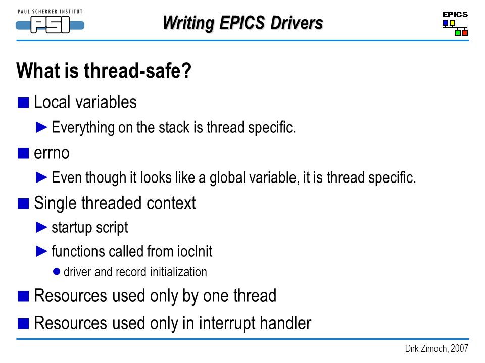 What is thread-safe Writing EPICS Drivers Local variables errno