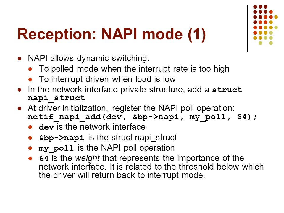 Reception: NAPI mode (1)