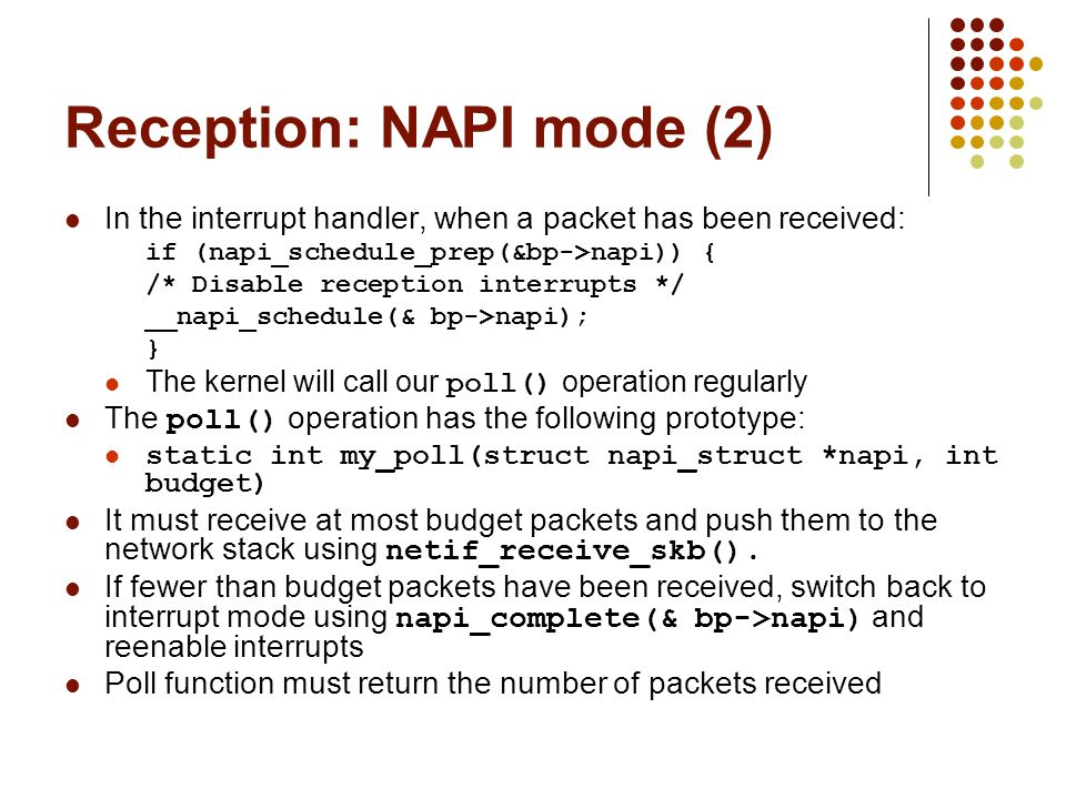 Reception: NAPI mode (2)