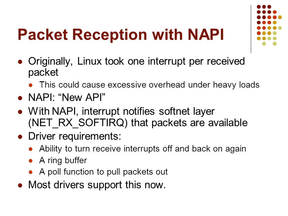 Packet Reception with NAPI