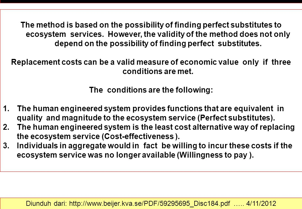 RCM = REPLACEMENT COST METHOD The conditions are the following: