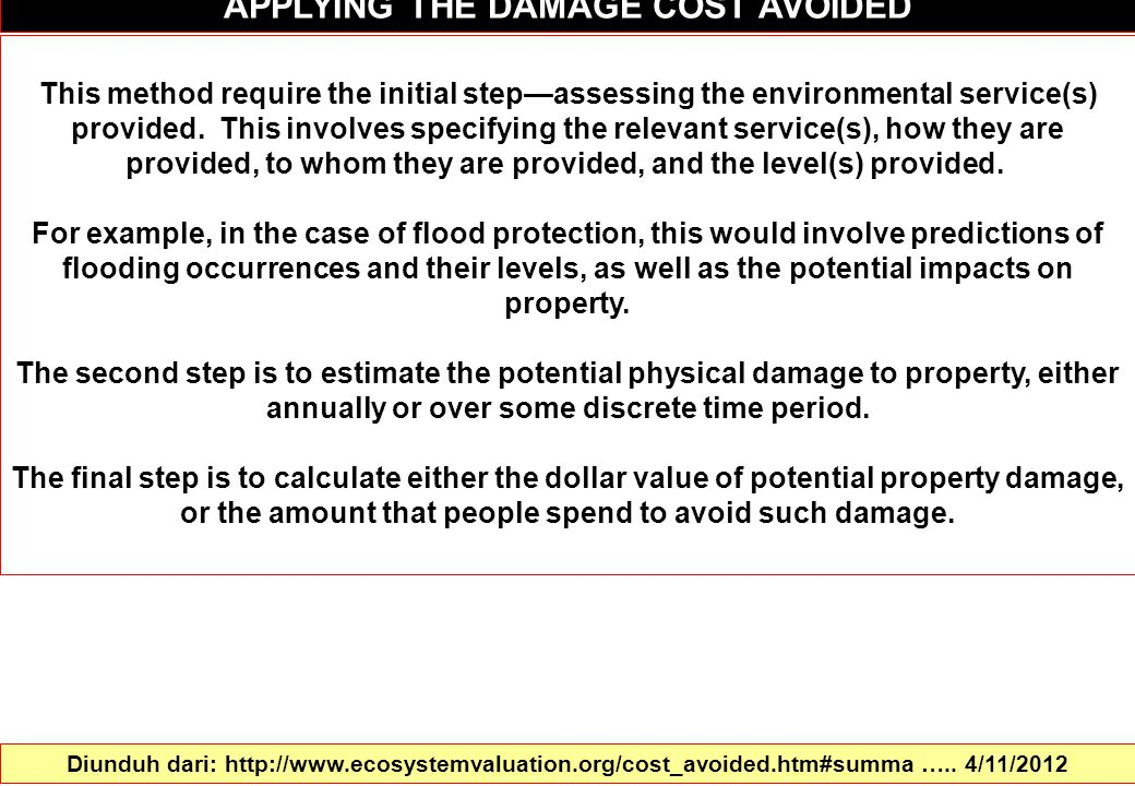 APPLYING THE DAMAGE COST AVOIDED