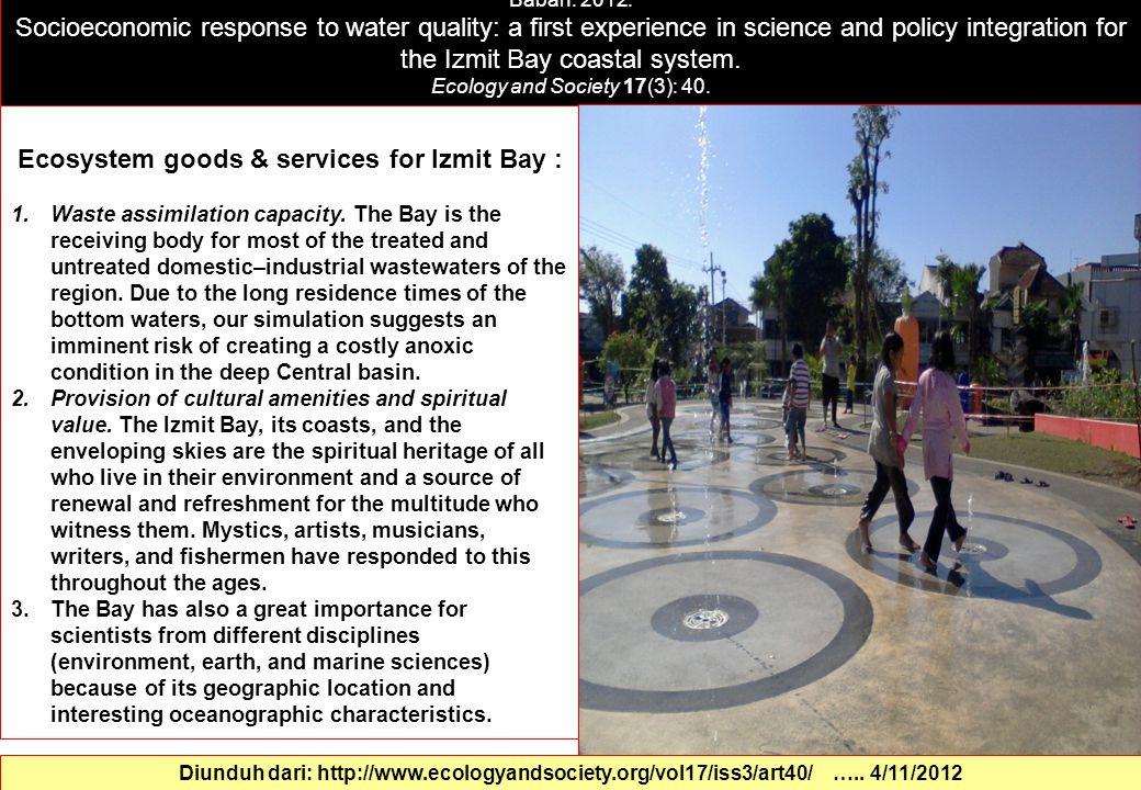 Ecosystem goods & services for Izmit Bay :