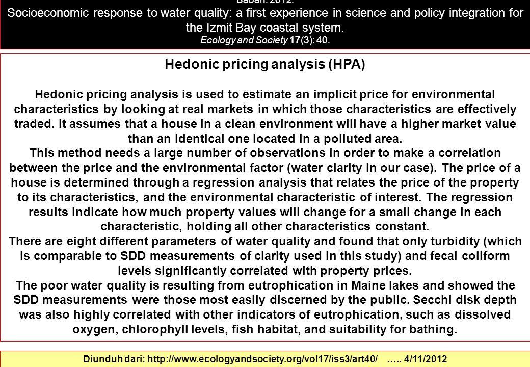 Hedonic pricing analysis (HPA)