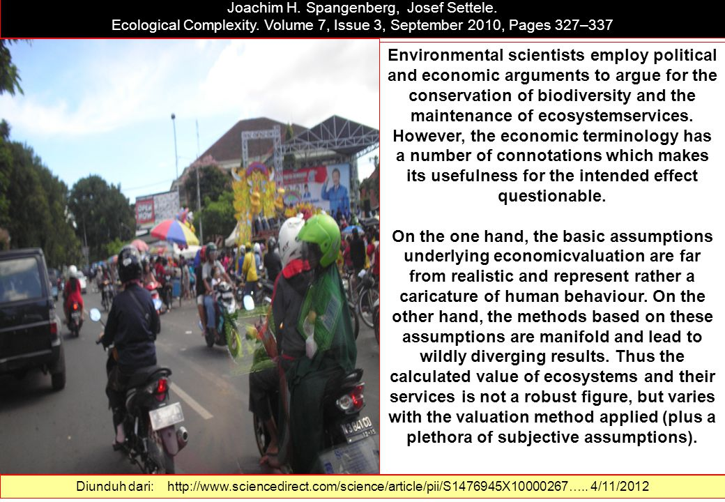 Precisely incorrect Monetising the value of ecosystemservices