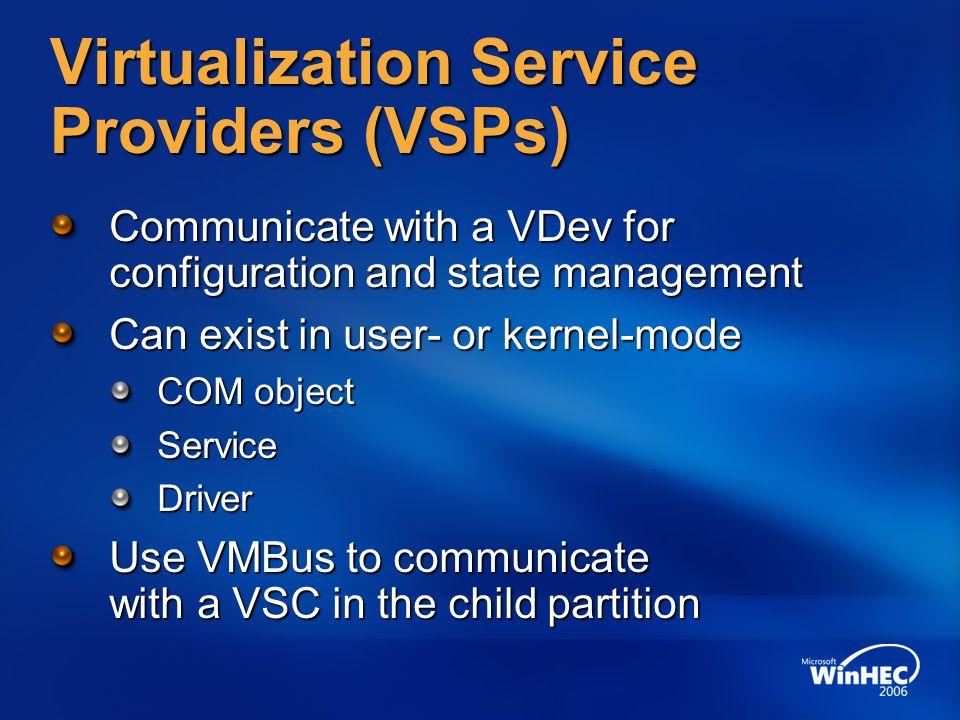 Virtualization Service Providers (VSPs)