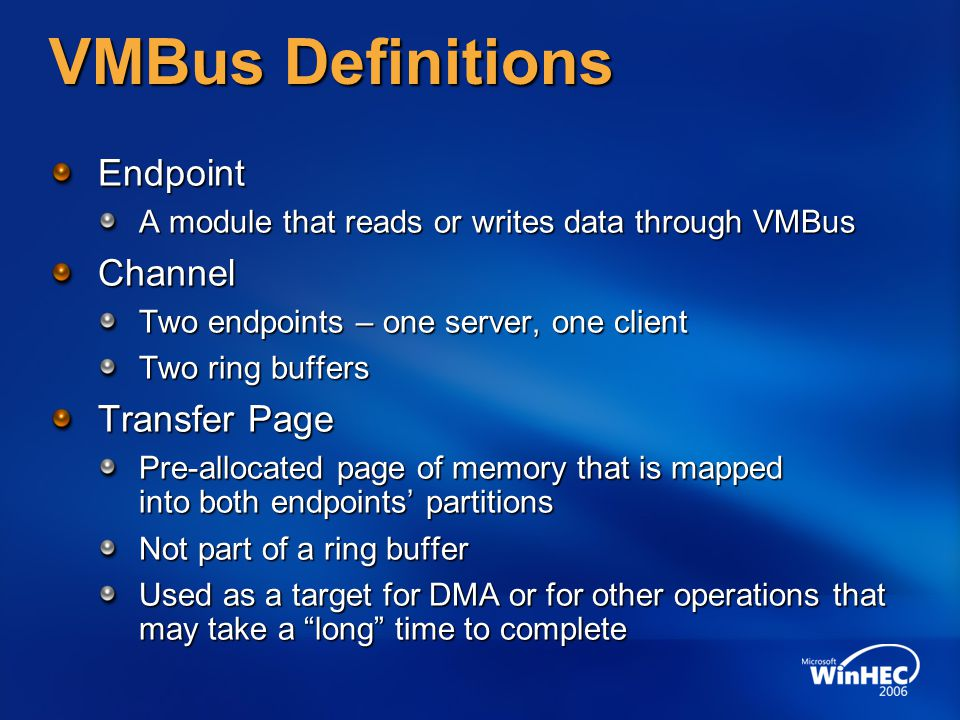VMBus Definitions Endpoint Channel Transfer Page