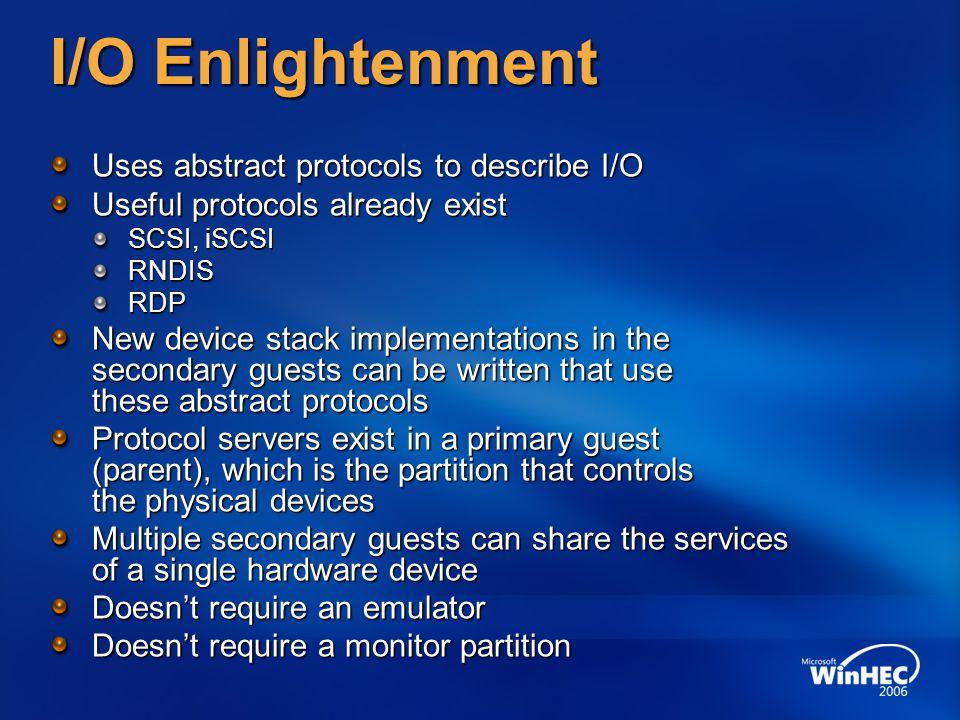 I/O Enlightenment Uses abstract protocols to describe I/O