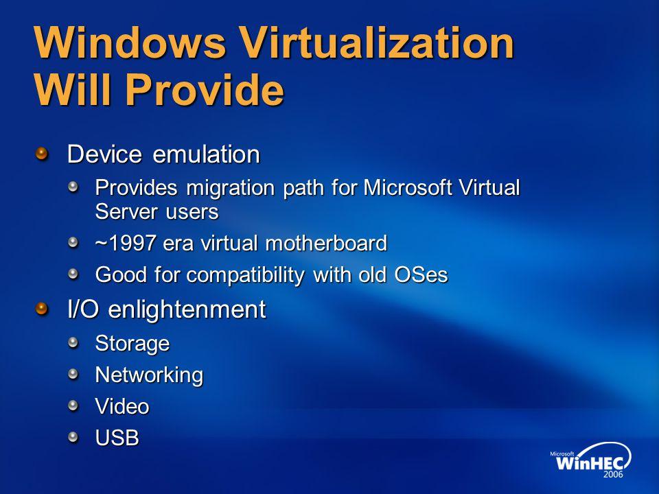 Windows Virtualization Will Provide