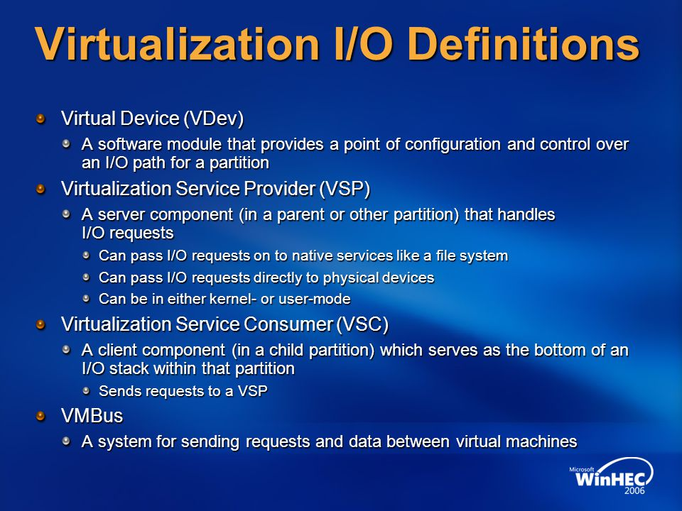 Virtualization I/O Definitions