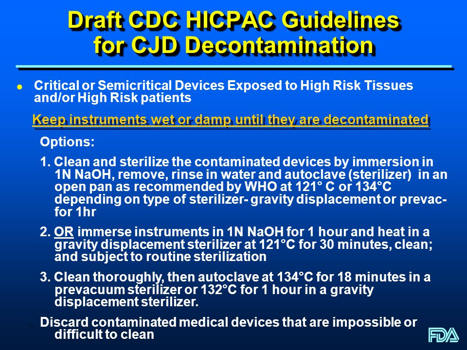 Draft CDC HICPAC Guidelines for CJD Decontamination