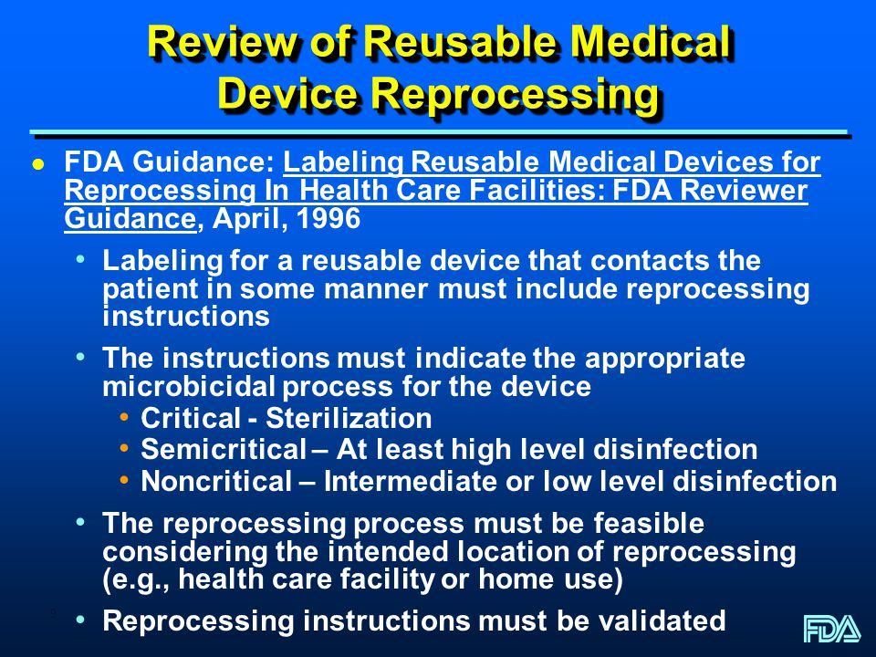Review of Reusable Medical Device Reprocessing