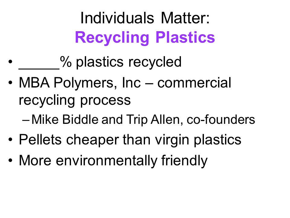 Individuals Matter: Recycling Plastics