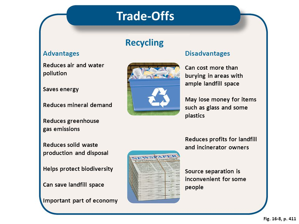 Trade-Offs Recycling Advantages Disadvantages Reduces air and water