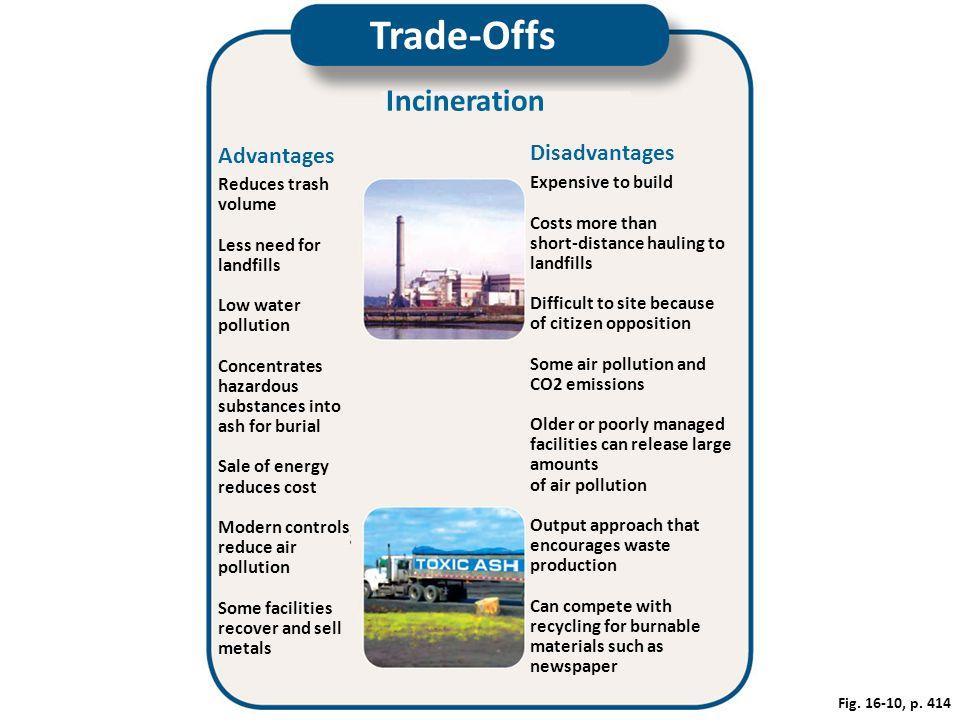 Trade-Offs Incineration Disadvantages Advantages Reduces trash