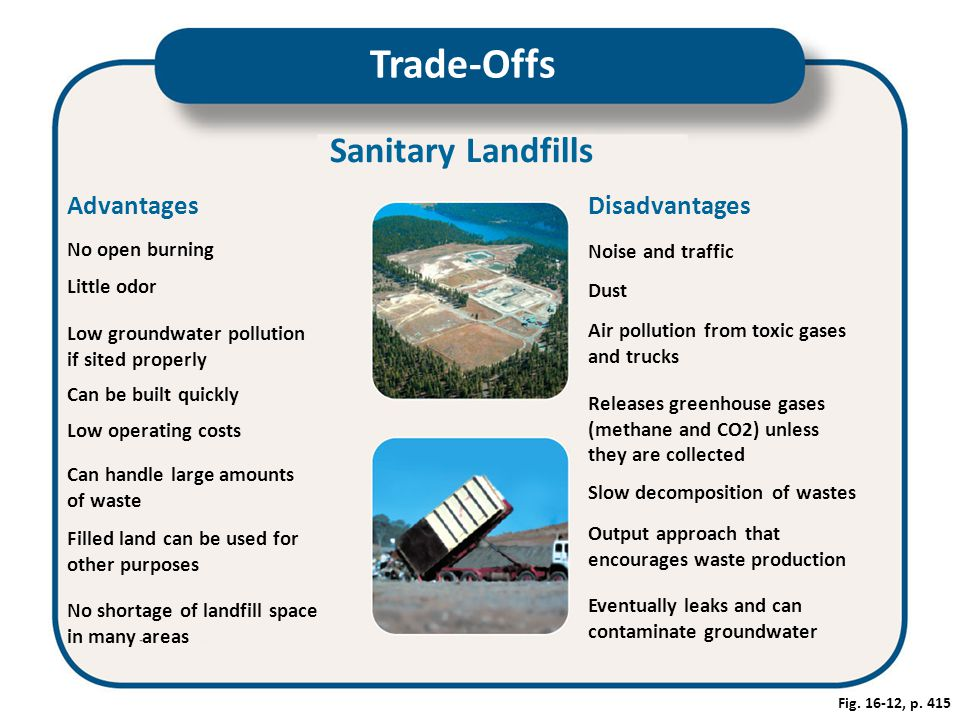 Trade-Offs Sanitary Landfills Advantages Disadvantages No open burning
