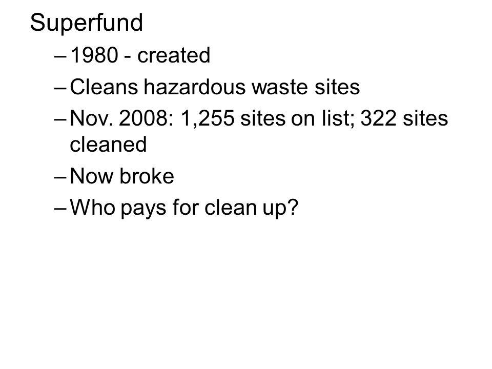 Superfund 1980 - created Cleans hazardous waste sites