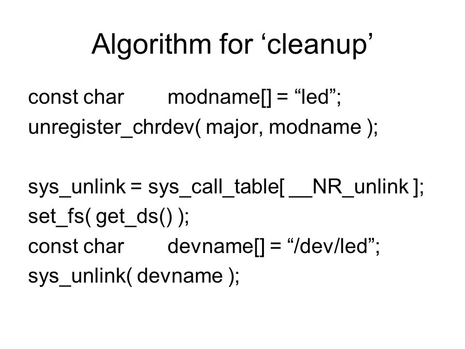 Algorithm for 'cleanup'