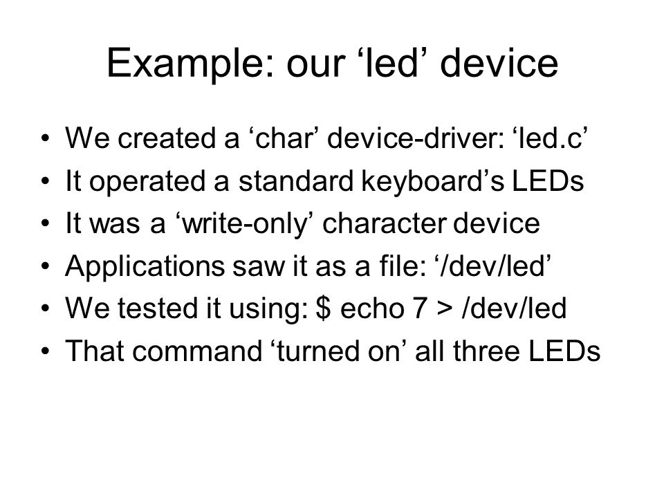 Example: our 'led' device