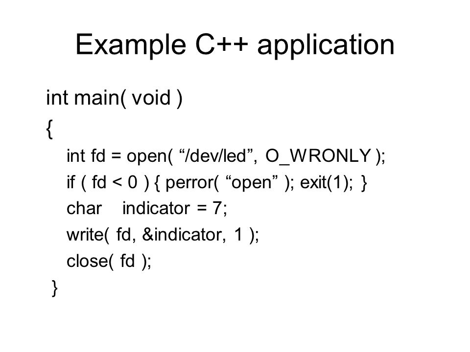 Example C++ application