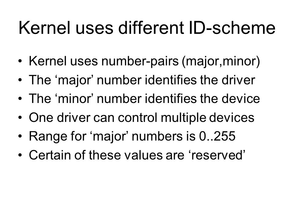 Kernel uses different ID-scheme