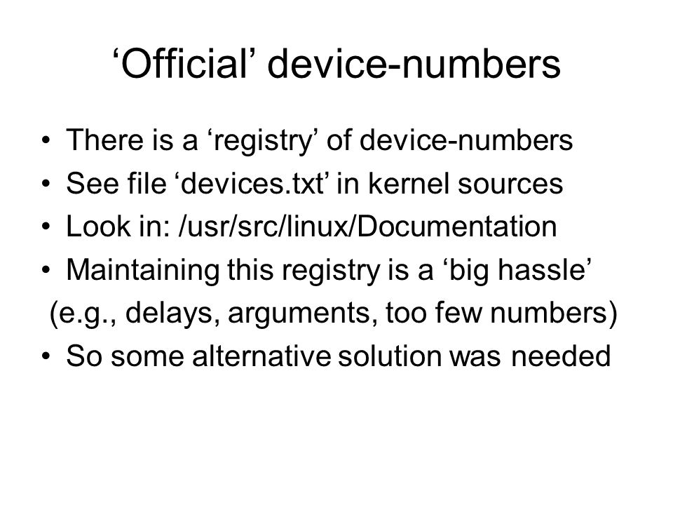'Official' device-numbers