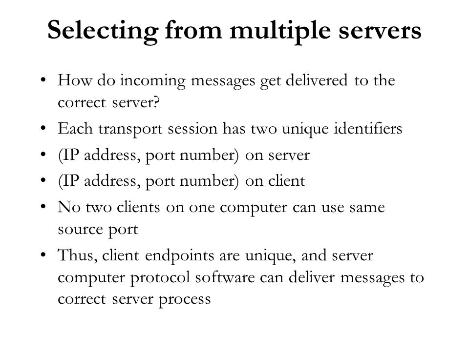 Selecting from multiple servers