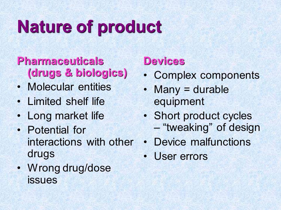 Nature of product Pharmaceuticals (drugs & biologics)