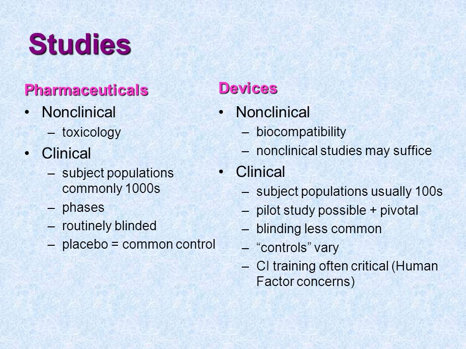 Studies Devices Pharmaceuticals Nonclinical Nonclinical Clinical
