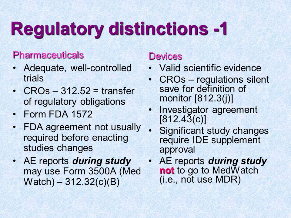 Regulatory distinctions -1