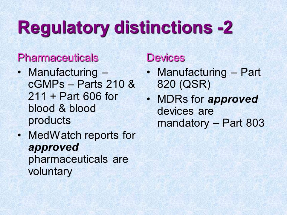 Regulatory distinctions -2
