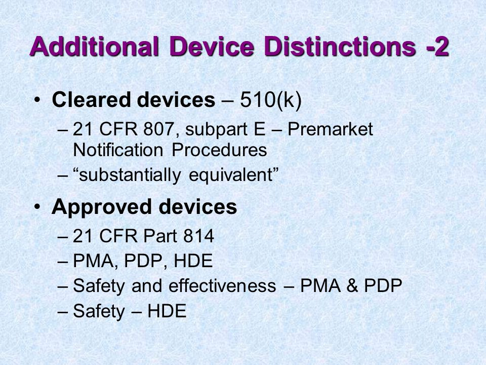 Additional Device Distinctions -2